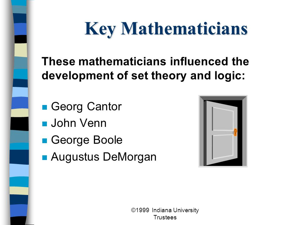 ©1999 Indiana University Trustees Georg Cantor 1845 -1918 developed set theory set theory was not initially accepted because it was radically different set theory today is widely accepted and is used in many areas of mathematics