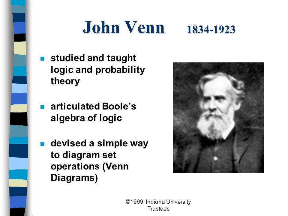 ©1999 Indiana University Trustees John Venn 1834-1923 studied and taught logic and probability theory articulated Boole's algebra of logic devised a simple way to diagram set operations (Venn Diagrams)