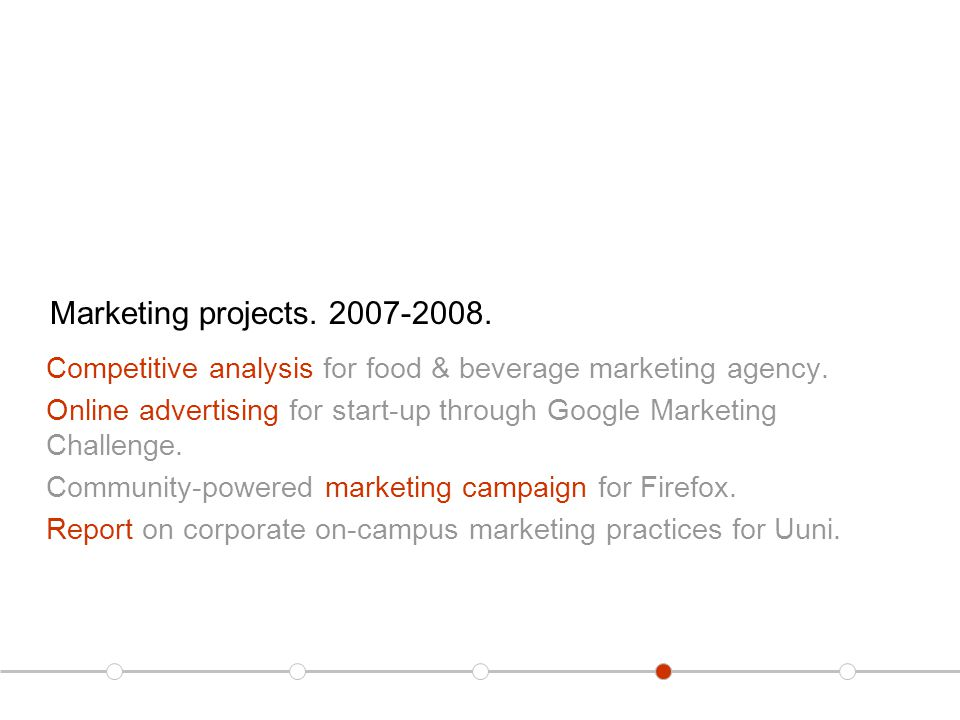 Marketing projects. 2007-2008. Competitive analysis for food & beverage marketing agency.
