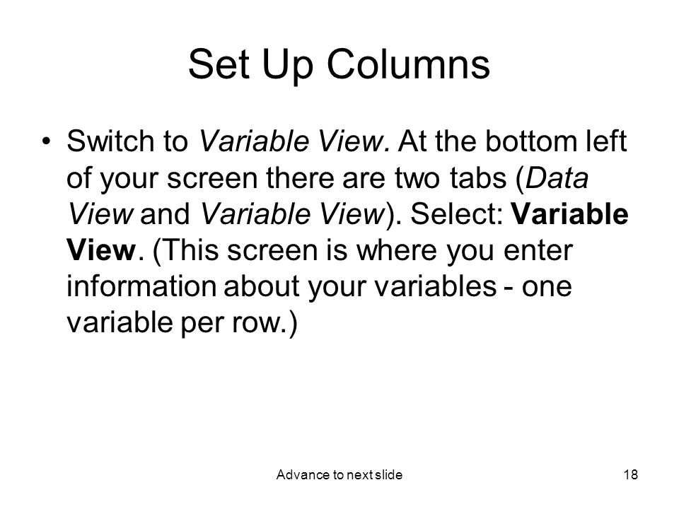 Advance to next slide18 Set Up Columns Switch to Variable View.