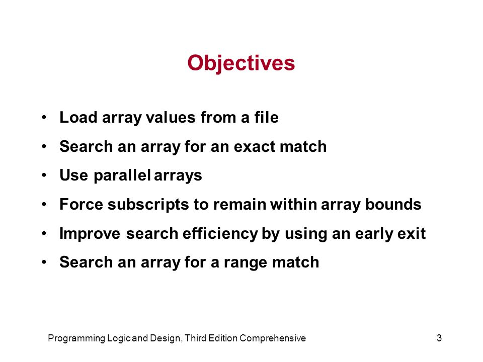 Programming Logic and Design, Third Edition Comprehensive3 Objectives Load array values from a file Search an array for an exact match Use parallel arrays Force subscripts to remain within array bounds Improve search efficiency by using an early exit Search an array for a range match