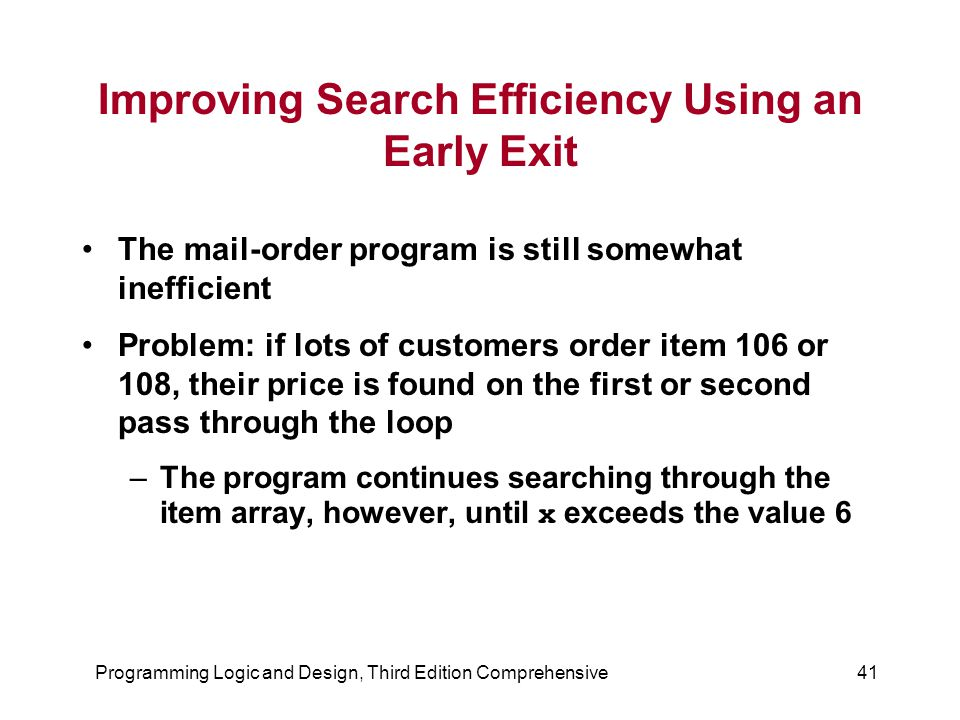 Programming Logic and Design, Third Edition Comprehensive41 Improving Search Efficiency Using an Early Exit The mail-order program is still somewhat inefficient Problem: if lots of customers order item 106 or 108, their price is found on the first or second pass through the loop –The program continues searching through the item array, however, until x exceeds the value 6
