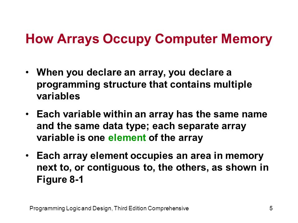 Programming Logic and Design, Third Edition Comprehensive5 How Arrays Occupy Computer Memory When you declare an array, you declare a programming structure that contains multiple variables Each variable within an array has the same name and the same data type; each separate array variable is one element of the array Each array element occupies an area in memory next to, or contiguous to, the others, as shown in Figure 8-1