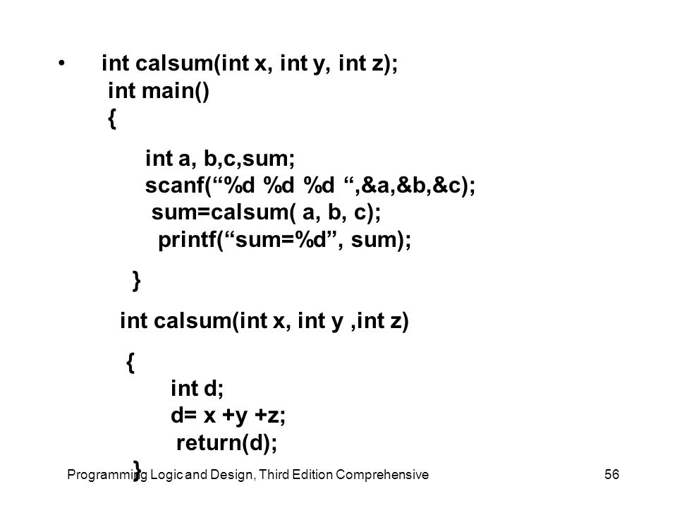"Programming Logic and Design, Third Edition Comprehensive56 int calsum(int x, int y, int z); int main() { int a, b,c,sum; scanf(""%d %d %d "",&a,&b,&c);"