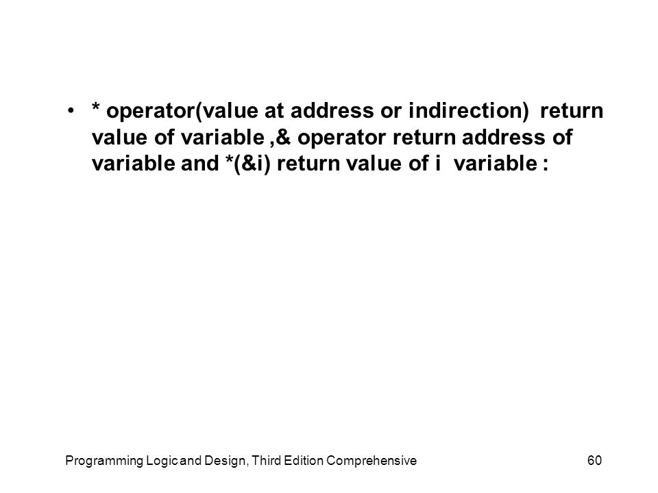 * operator(value at address or indirection) return value of variable,& operator return address of variable and *(&i) return value of i variable : Programming Logic and Design, Third Edition Comprehensive60