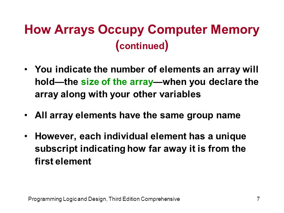 Programming Logic and Design, Third Edition Comprehensive7 How Arrays Occupy Computer Memory ( continued ) You indicate the number of elements an array will hold—the size of the array—when you declare the array along with your other variables All array elements have the same group name However, each individual element has a unique subscript indicating how far away it is from the first element