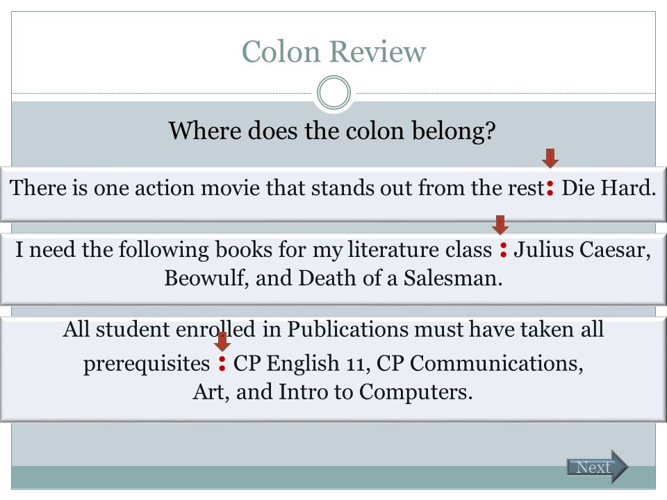 Colon Review Where does the colon belong? There is one action movie that stands out from the rest Die Hard. I need the following books for my literatu