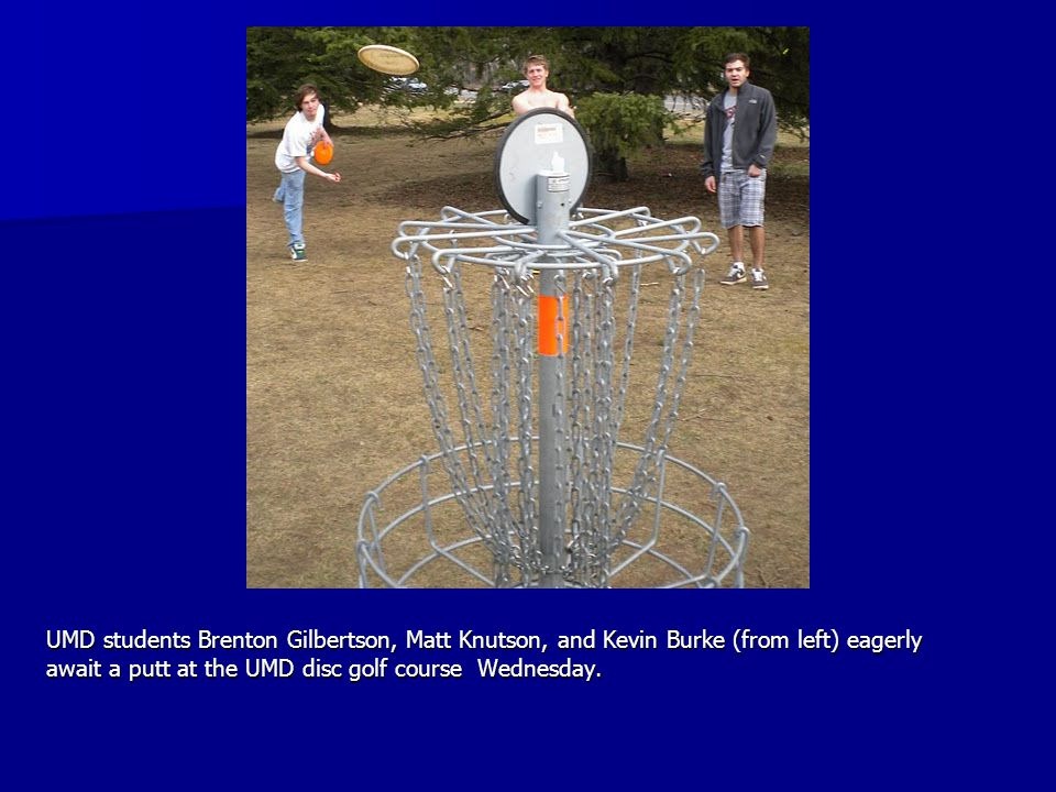 UMD students Brenton Gilbertson, Matt Knutson, and Kevin Burke (from left) eagerly await a putt at the UMD disc golf course Wednesday. UMD students Br