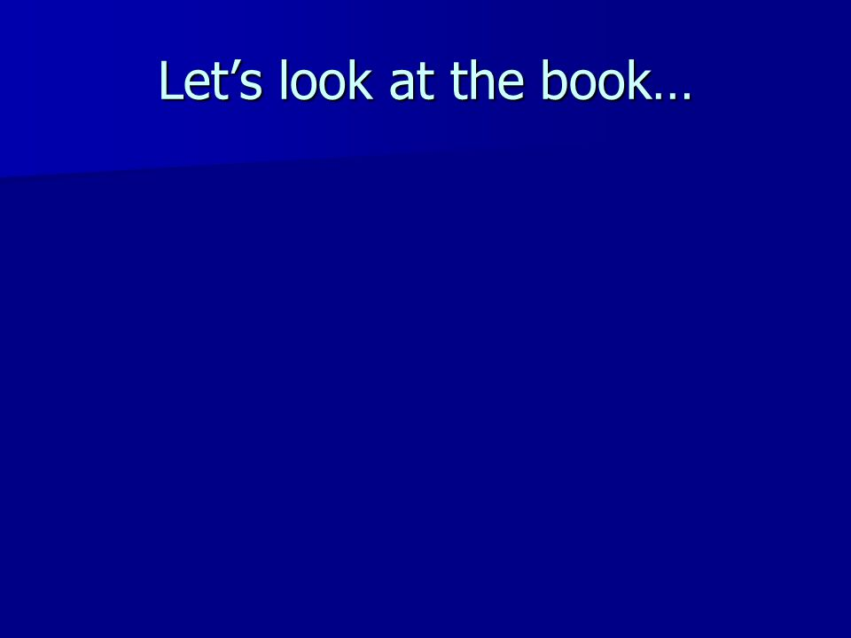 Let's look at the book…