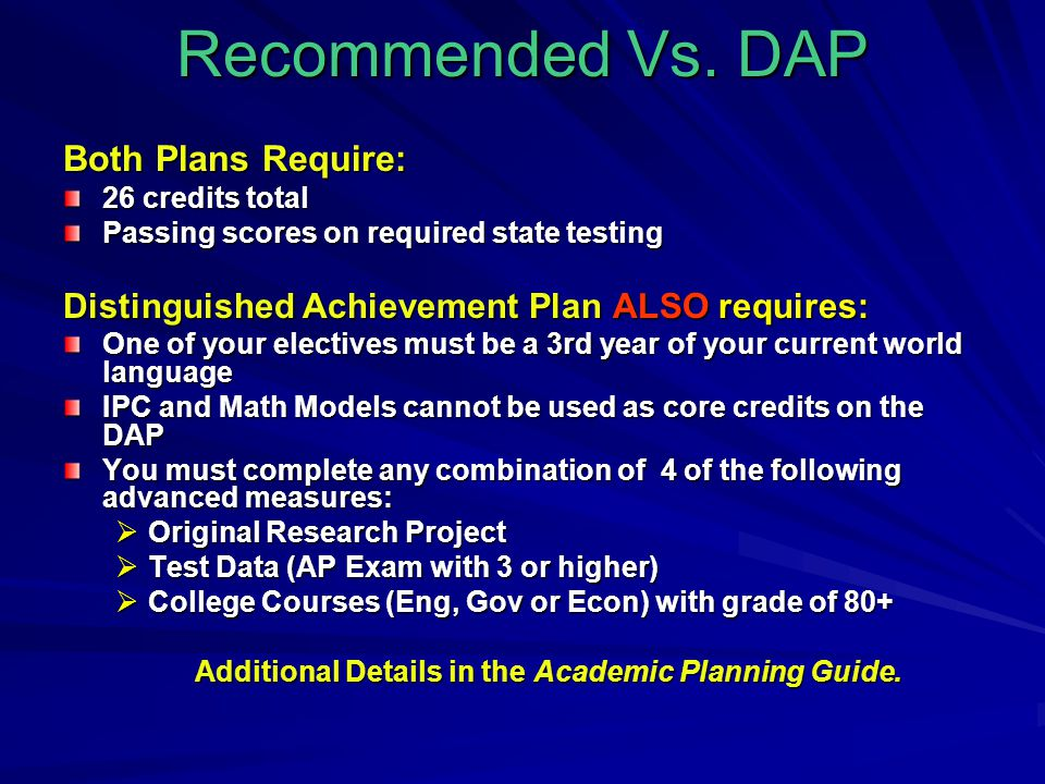 Recommended Vs. DAP Both Plans Require: 26 credits total Passing scores on required state testing Distinguished Achievement Plan ALSO requires: One of