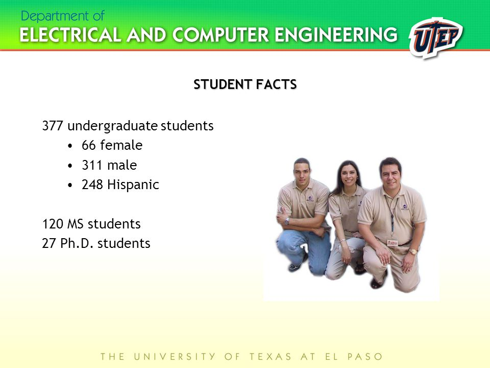 STUDENT FACTS 377 undergraduate students 66 female 311 male 248 Hispanic 120 MS students 27 Ph.D.
