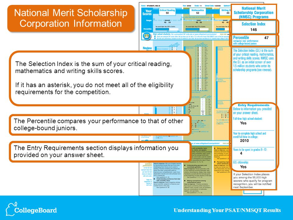 Understanding Your PSAT/NMSQT Results National Merit Scholarship Corporation Information The Entry Requirements section displays information you provi