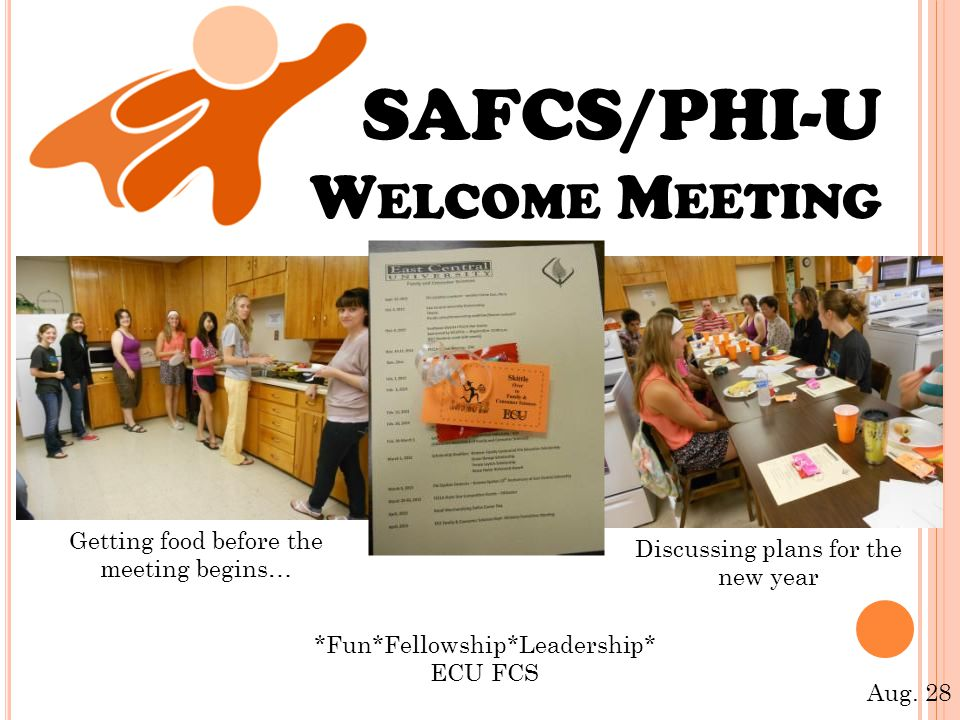 SAFCS/PHI-U W ELCOME M EETING Getting food before the meeting begins… Discussing plans for the new year *Fun*Fellowship*Leadership* ECU FCS Aug.