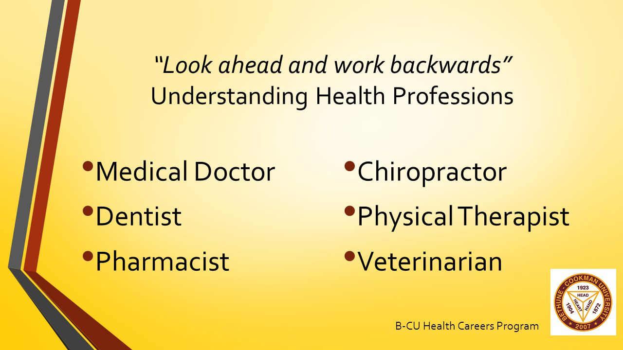 Look ahead and work backwards Understanding Health Professions Medical Doctor Dentist Pharmacist Chiropractor Physical Therapist Veterinarian B-CU Health Careers Program