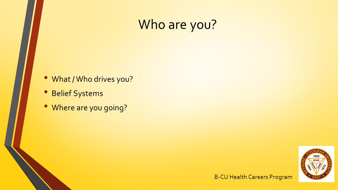 Who are you What / Who drives you Belief Systems Where are you going B-CU Health Careers Program