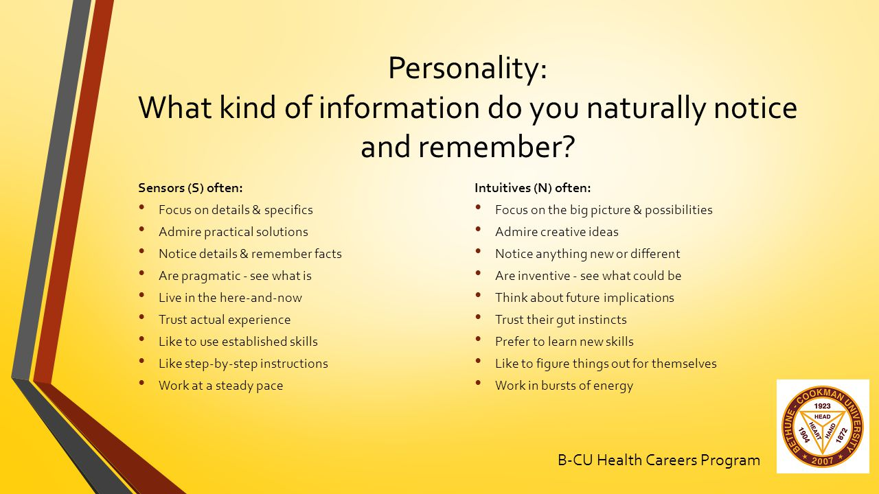 Personality: What kind of information do you naturally notice and remember.