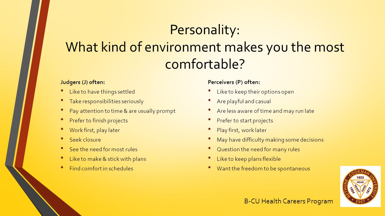 Personality: What kind of environment makes you the most comfortable.
