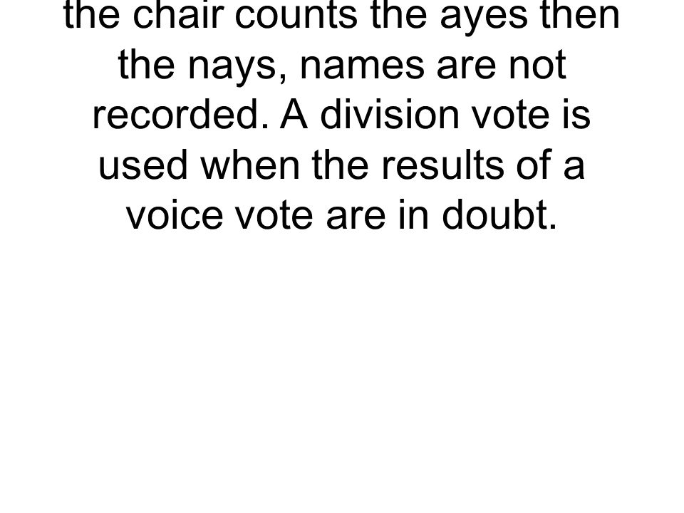 Requires members of the House or Senate to stand or raise their hand to be counted, the chair counts the ayes then the nays, names are not recorded.
