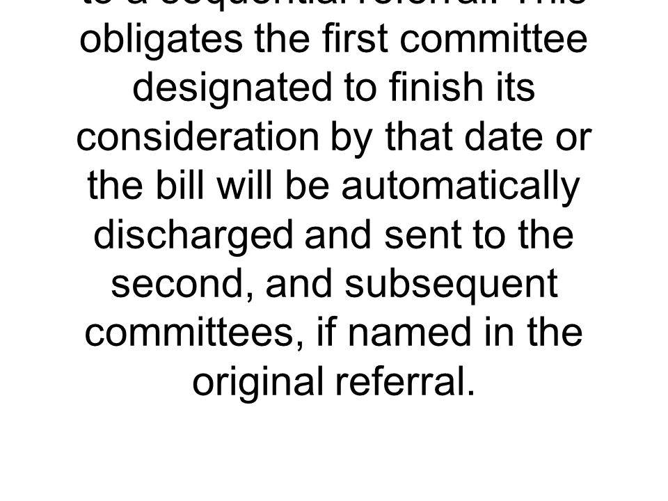 The practice of sending a bill to more than one congressional committee for consideration and doing so in an ordered sequence.
