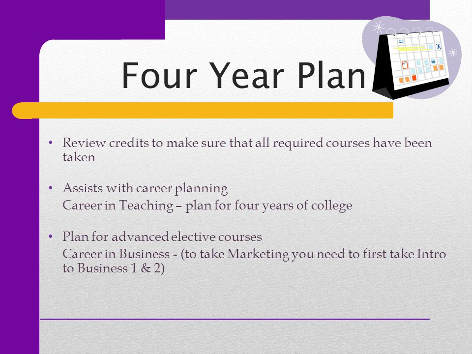 Review credits to make sure that all required courses have been taken Assists with career planning Career in Teaching – plan for four years of college Plan for advanced elective courses Career in Business - (to take Marketing you need to first take Intro to Business 1 & 2)
