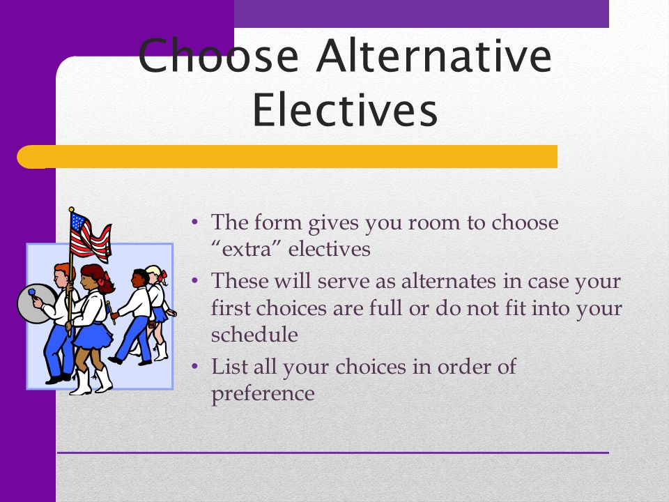 "Choose Alternative Electives The form gives you room to choose ""extra"" electives These will serve as alternates in case your first choices are full or"