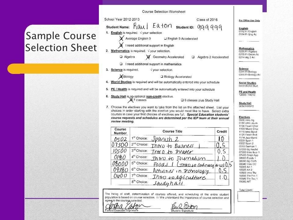Sample Course Selection Sheet