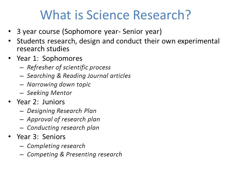 What is Science Research.