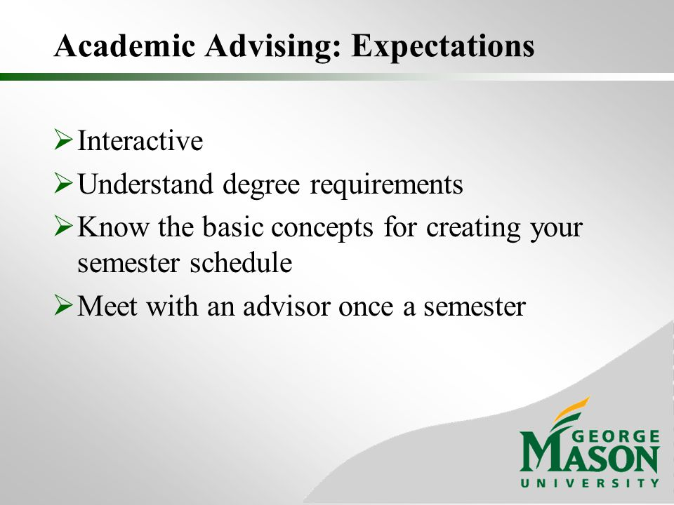 Academic Advising: Expectations  Interactive  Understand degree requirements  Know the basic concepts for creating your semester schedule  Meet with an advisor once a semester