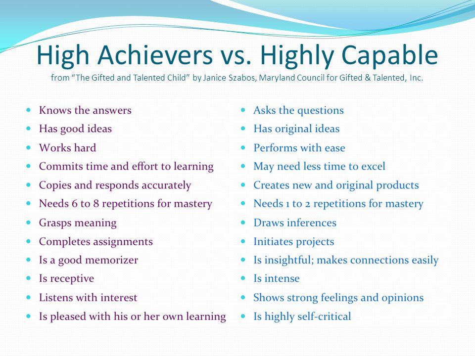 High Achievers vs.