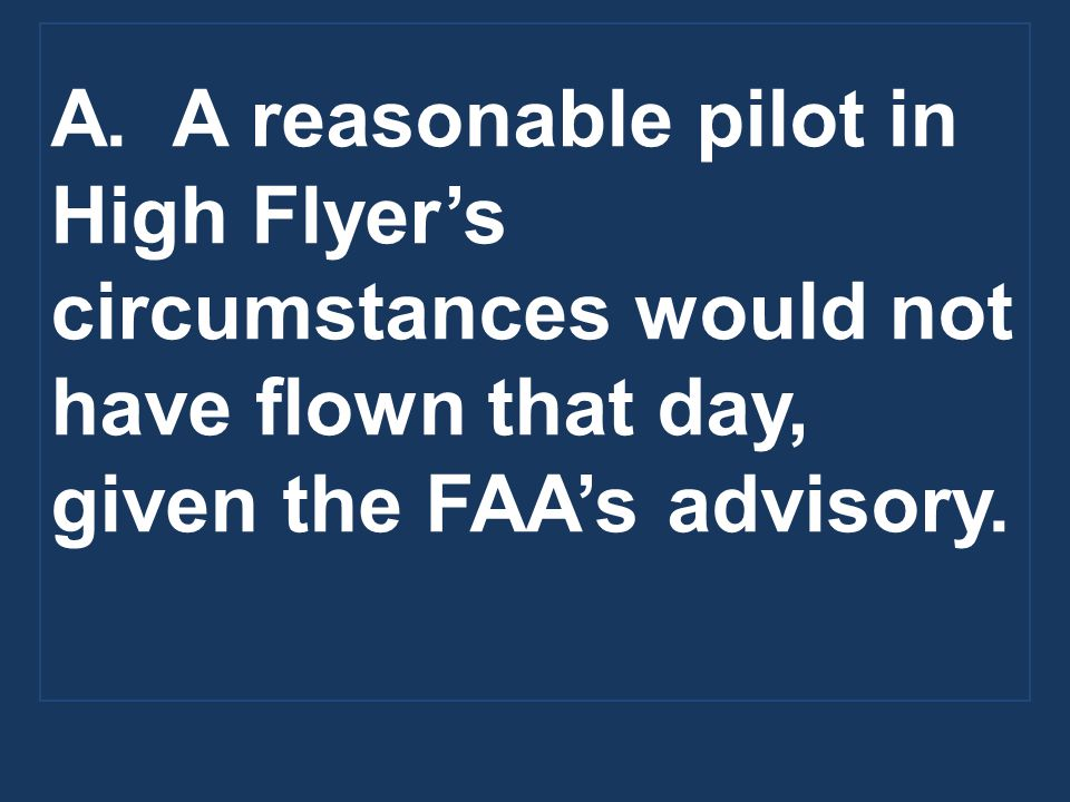 A. A reasonable pilot in High Flyer's circumstances would not have flown that day, given the FAA's advisory.