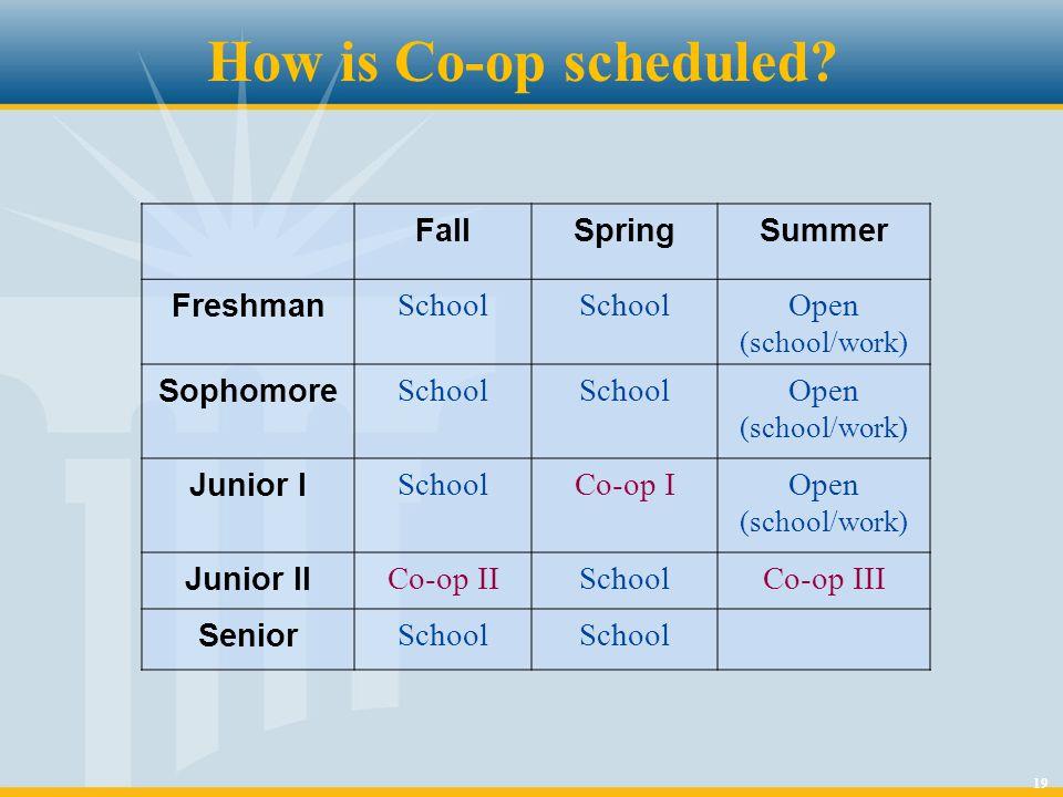 19 FallSpringSummer Freshman School Open (school/work) Sophomore School Open (school/work) Junior I SchoolCo-op IOpen (school/work) Junior II Co-op IISchoolCo-op III Senior School How is Co-op scheduled