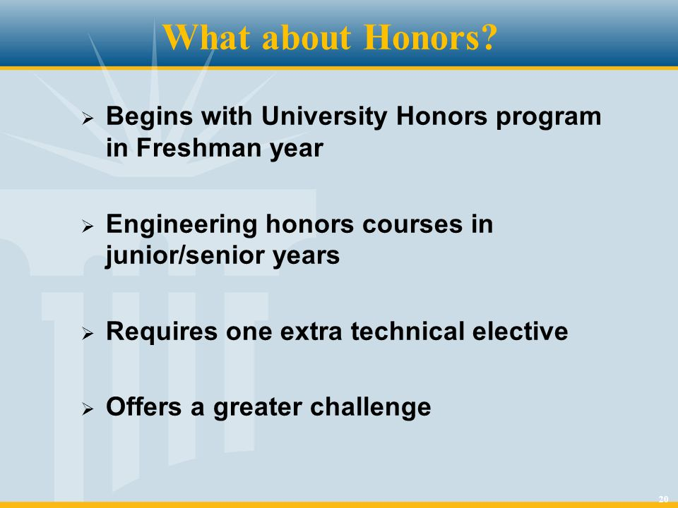 20 What about Honors.