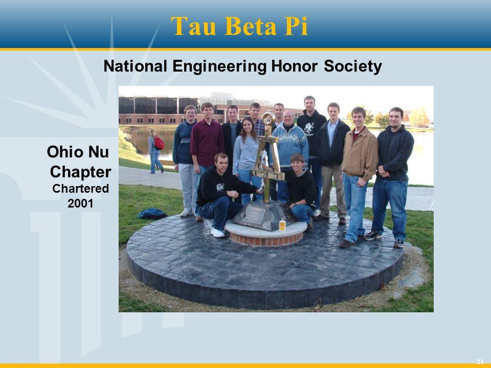 21 Tau Beta Pi Ohio Nu Chapter Chartered 2001 National Engineering Honor Society