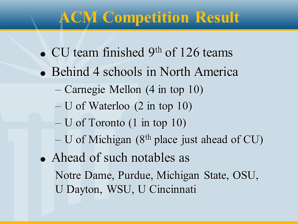 ACM Competition Result l CU team finished 9 th of 126 teams l Behind 4 schools in North America –Carnegie Mellon (4 in top 10) –U of Waterloo (2 in to