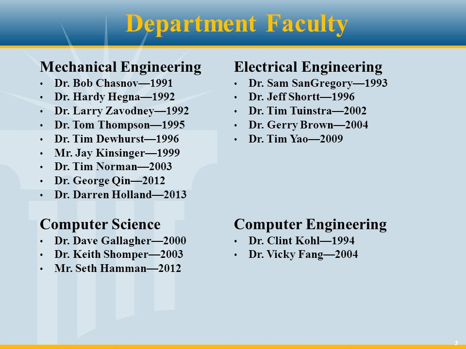 3 Department Faculty Mechanical Engineering Dr. Bob Chasnov—1991 Dr.