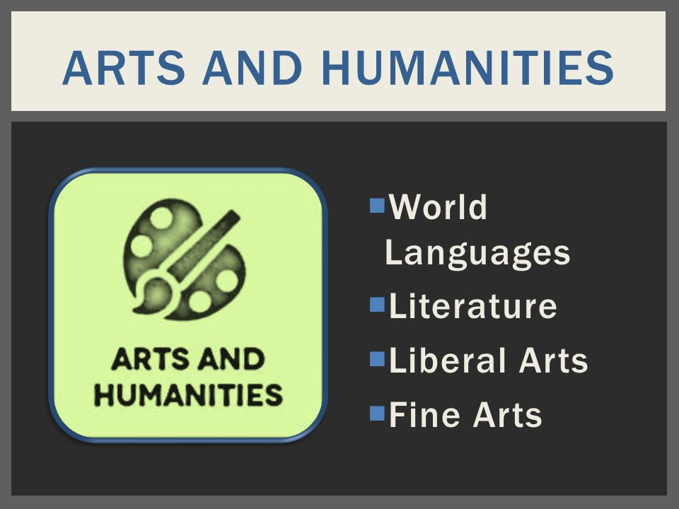  World Languages  Literature  Liberal Arts  Fine Arts ARTS AND HUMANITIES