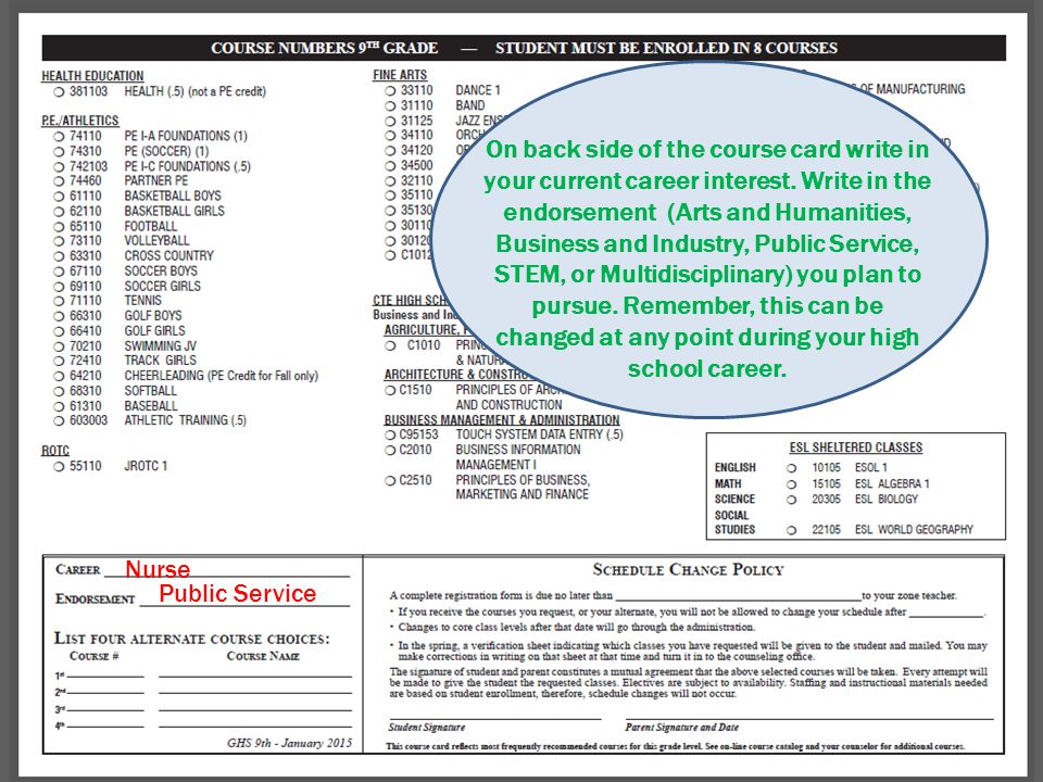 Nurse Public Service On back side of the course card write in your current career interest.