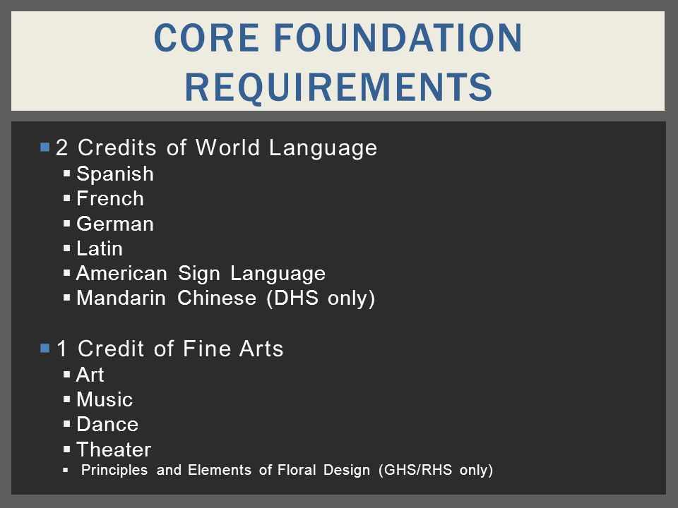  2 Credits of World Language  Spanish  French  German  Latin  American Sign Language  Mandarin Chinese (DHS only)  1 Credit of Fine Arts  Art  Music  Dance  Theater  Principles and Elements of Floral Design (GHS/RHS only) CORE FOUNDATION REQUIREMENTS