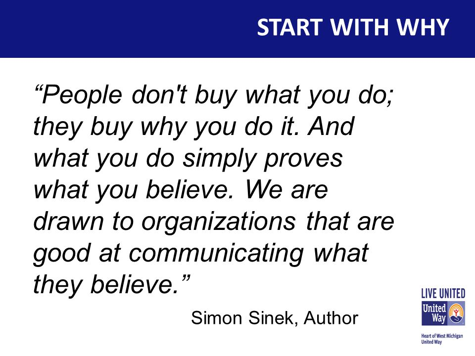 START WITH WHY People don t buy what you do; they buy why you do it.