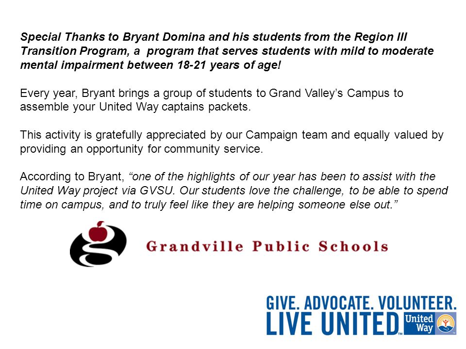 Special Thanks to Bryant Domina and his students from the Region III Transition Program, a program that serves students with mild to moderate mental impairment between 18-21 years of age.