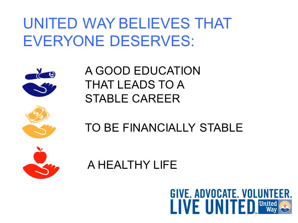 UNITED WAY BELIEVES THAT EVERYONE DESERVES: TO BE FINANCIALLY STABLE A HEALTHY LIFE A GOOD EDUCATION THAT LEADS TO A STABLE CAREER