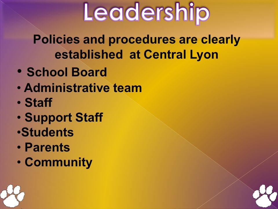 Policies and procedures are clearly established at Central Lyon School Board Administrative team Staff Support Staff Students Parents Community