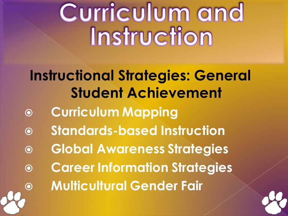 Instructional Strategies: General Student Achievement  Curriculum Mapping  Standards-based Instruction  Global Awareness Strategies  Career Information Strategies  Multicultural Gender Fair