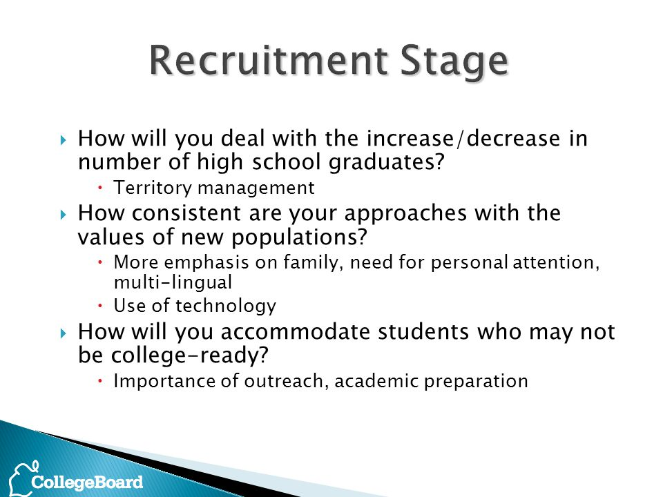  How will you deal with the increase/decrease in number of high school graduates.