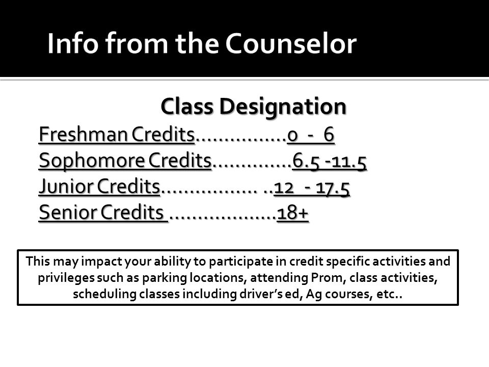 Class Designation Freshman Credits………….…0 - 6 Sophomore Credits…………..6.5 -11.5 Junior Credits……………....12 - 17.5 Senior Credits ………….......18+ This may impact your ability to participate in credit specific activities and privileges such as parking locations, attending Prom, class activities, scheduling classes including driver's ed, Ag courses, etc..