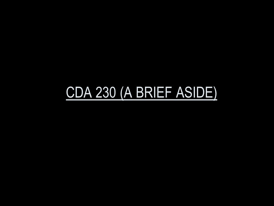 CDA 230 (A BRIEF ASIDE)
