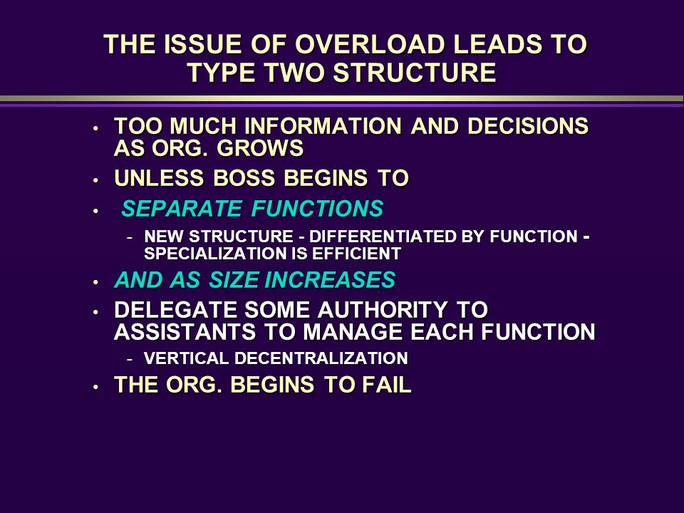 THE ISSUE OF OVERLOAD LEADS TO TYPE TWO STRUCTURE THE ISSUE OF OVERLOAD LEADS TO TYPE TWO STRUCTURE TOO MUCH INFORMATION AND DECISIONS AS ORG. GROWS T