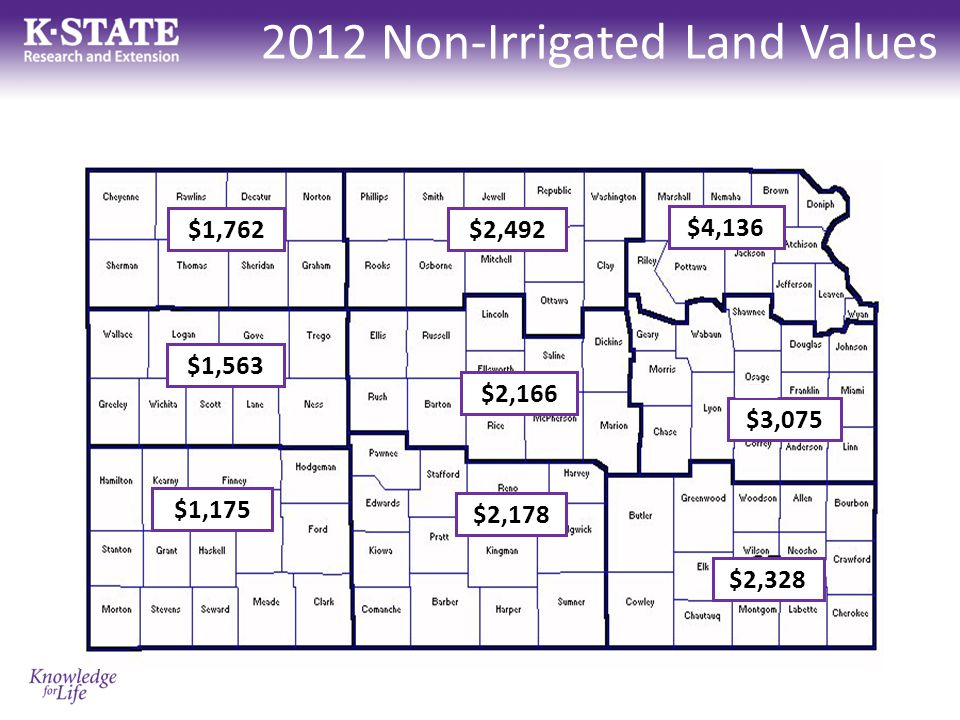 2012 Non-Irrigated Land Values $1,762 $1,563 $1,175 $2,492 $2,166 $2,178 $4,136 $3,075 $2,328