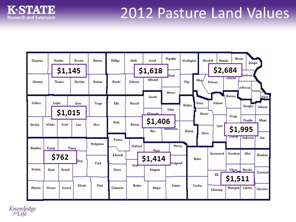 2012 Pasture Land Values $1,145 $1,015 $762 $1,618 $1,406 $1,414 $2,684 $1,995 $1,511