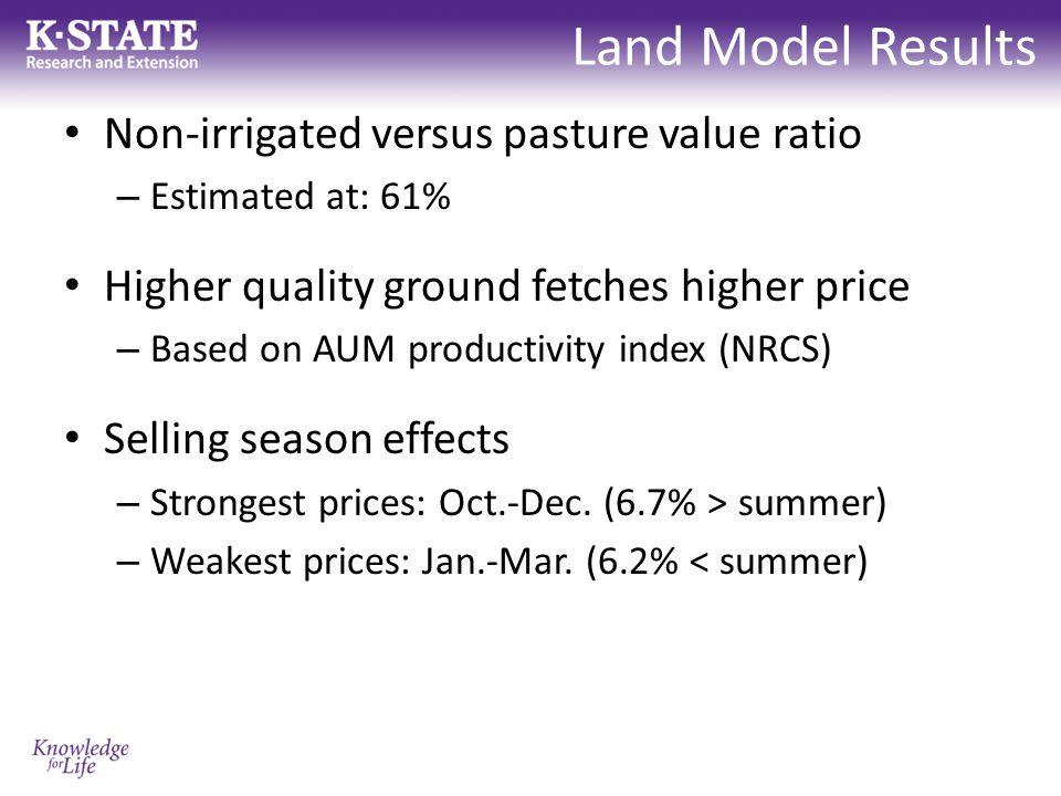Land Model Results Non-irrigated versus pasture value ratio – Estimated at: 61% Higher quality ground fetches higher price – Based on AUM productivity index (NRCS) Selling season effects – Strongest prices: Oct.-Dec.